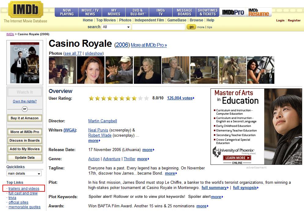 imdb3 Geriausia vieta žiūrėti filmų treilerius (anonsus)