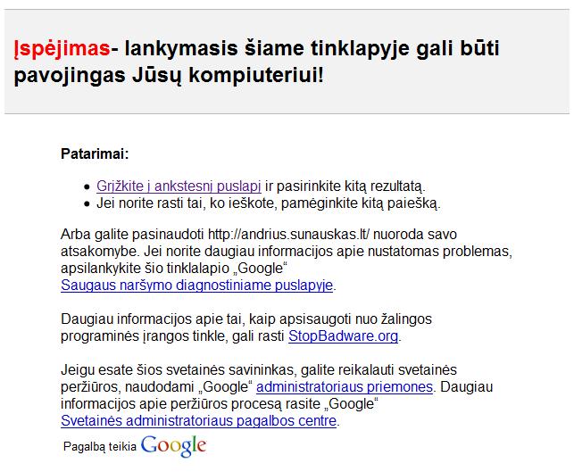 Google pranešimas